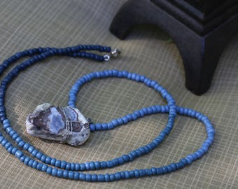 Fossilized Light Blue Crystal Stone Blue Spectrum Beaded Necklace