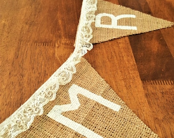 Mr & Mrs Wedding Banner with Cream Colored Lace Trim