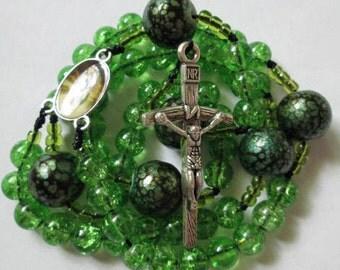 green rosary,green rosaries,irish rosary,rosary,rosaries,corded rosaries,knotted rosaries,catholic rosary,marian gift ideas,mom,mother