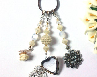 Keychain Locket - Silver Locket Heart - Opens - Secret Message - Flower Pendants - Fashion Pendants - Gift For Her - White Beads