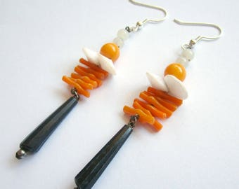 Orange dangle earrings, orange earrings, 80s earrings, orange dangle earrings, orange drop earrings, orange and black earrings