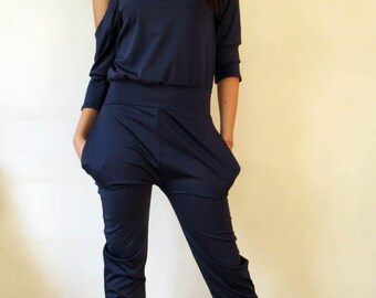 Black Jumpsuit/Loose Jumpsuit/Maxi black jumpsuit/Oversize jumpsuit/ plus size jumpsuit/Woman loose jumpsuit/ one shoulder / fallen shoulder