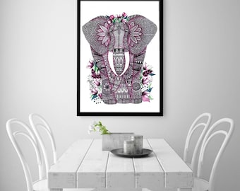 Pink Elephant, Digital Illustration, Elephant Poster, Watercolor Elephant, Watercolor Art, Digital Art, Zentangle, Doodle, Print, Gift