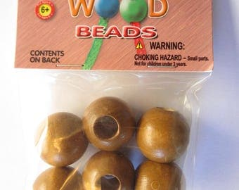 Pepperell Round Wood Beads 25mm 6 Pack Maple