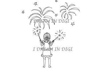 DIGITAL STAMP, Sale, coloring page, fourth of July