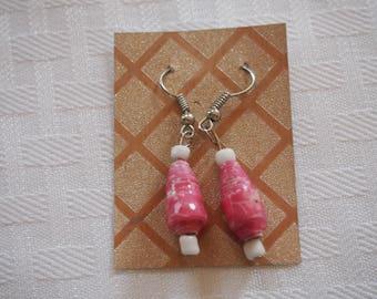 Paper Bead Earrings, Pink Flowers