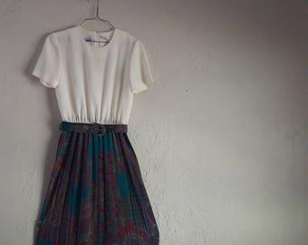 1980s Teal Paisley & Cream Mid-Calf Length Dress With Jacket