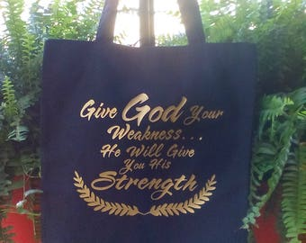Black totebag with gold lettering Inspirational