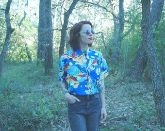Shirt Vintage 90 of 80's pattern multicolor Gina Vanetti
