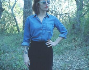 Pinup black Vintage 80's suede pencil skirt Made In France