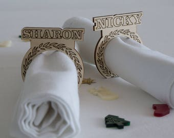 Personalised Christmas napkin ring. Laser cut wood Xmas napkin holder for Christmas party dinner L225