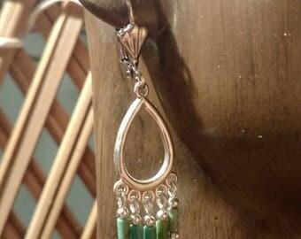 Green turquoise, silver chandelier earrings