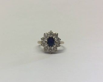 9ct Gold Oval Sapphire and Diamond Ring, Illusion Set Diamond and Sapphire