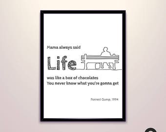 Forrest Gump Movie Quote Poster, One line Drawing, Art Decor Gift, Digital, Downloadable, Printable