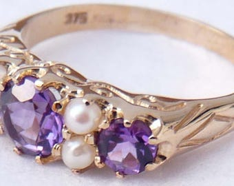 Vintage Inspired Amethyst & Seed Pearl Seven Stone Cluster Ring