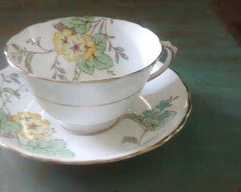 Beautiful Floral Tuscan Bone China Tea Cup and Saucer