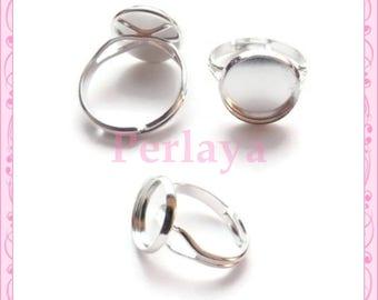 Set of 5 rings 12mm REF896 silver globe