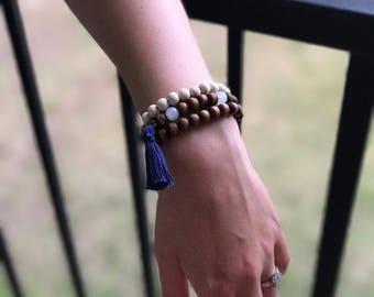 Bohemian Stack Bead Bracelets, Boho Stacked Bracelets, Three Stackable Bracelets, 8mm Wood Beads, 8mm White Acrylic Beads, Summer Bracelets