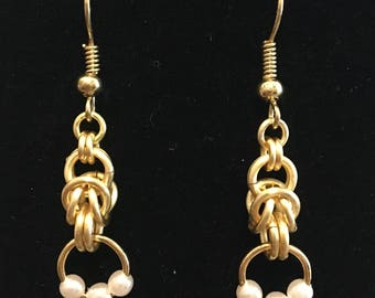 Byzantine and Tri-Pearl Earrings