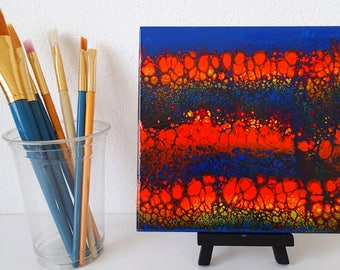 Vivid acrylic painting on 6 inch ceramic tile
