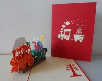 Birthday Train with Animals Pop up Card  Children- Blank- Christening  (sku018)