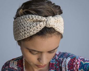 Vegan Organic Cotton Crochet Headband (Child-Adult)- Natural