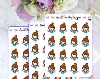 Cute Shopping Time Girl Planner Stickers, Cute Planner Girl Sticker, Kawaii Brown Hair Girl, Planner Sticker, Planner Accessories