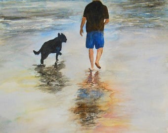 Dog and beach painting- watercolor original painting on Arches paper - Seashore - man and dog - ocean painting - into the beach - seascape