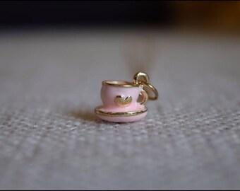 Pink Heart Alice in Wonderland Tea Cup Necklace