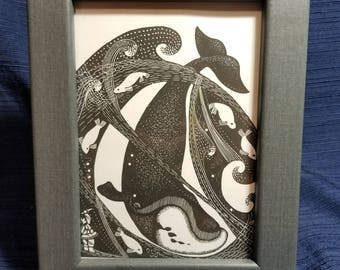 "Framed Wood Engraving Whale and Seals Print from ""The Boy Who Found the Light"" by Dale De Armond - a book of Eskimo folktales"