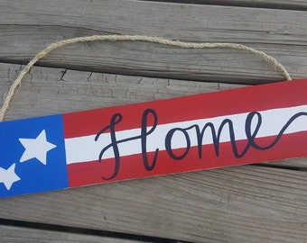 American Flag 'Home' Sign