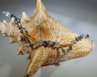 Gold and Blue Swarovski Crystal Anklet