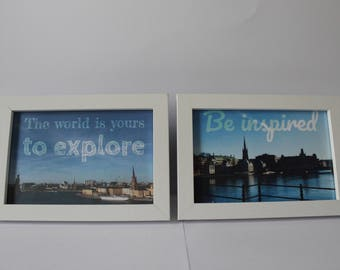 "2 framed 6""x4"" prints of Stockholm, Sweden with quotations"