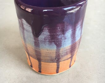 Orange and Blue Vase with Purple Drips