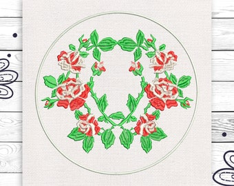 Rose wreath Roses Discount 10% Machine embroidery design 4 sizes INSTANT DOWNLOAD EE5059