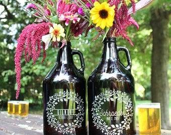 Custom Wedding Centerpiece / Beer Lover Gift / 64 oz Craft Beer Growler