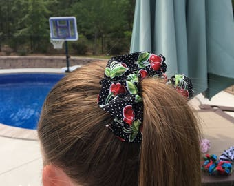 Black cotton scrunchie with cherries(colors within: red, green, black and white.)