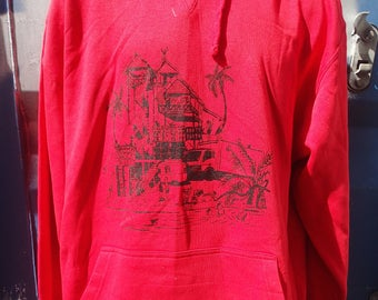 Men,s hoodie, red, tropical rave.