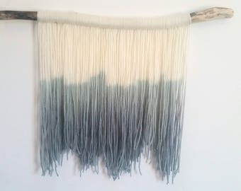 Handmade tapestry || Fibre art || TEAL APPEAL || Dip dye wall hanging || Teal ombre || Jagged edges || Bohemian wall decor