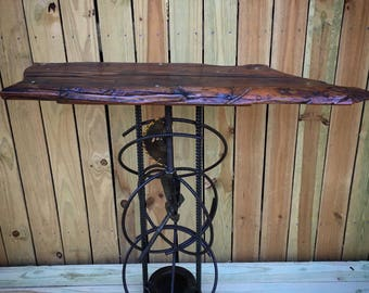 Custom made, one of a kind, industrial wood table
