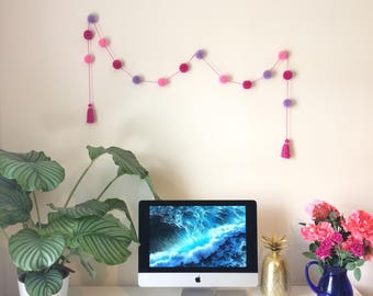 Pom Pom Garland in Shades of Pink (pink and lilac yarn) - Handmade UK