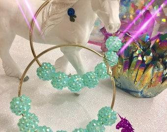 Super Sparkly Turquoise Shambala Hoop Earrings