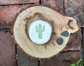 Hand Printed Cactus Coin Purse