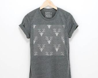 Deer Head Sweater Pattern T-shirt -Unisex