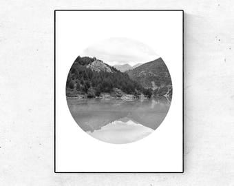 Living Room Decor, Minimalist Poster, Landscape Photography, Nature Inspired, Nordic Poster, Black And White Wall Art, Wall Art Living Room