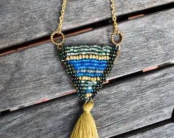 Beaded Applique Tassel Necklace