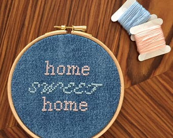 Home sweet home contemporary upcycled cross stitch hoop