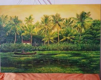 Original Acrylic Painting - Backwaters of Kerala, India
