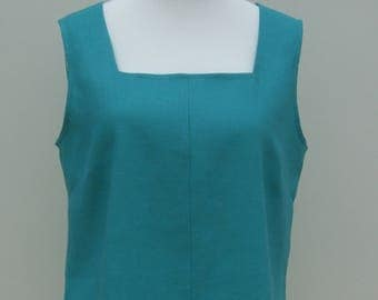 Linen tunic square neck sleeveless 100% pure linen, jade green, teal, pink, purple, red, white, black, navy, pale blue, yellow