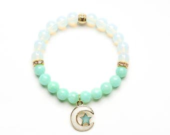 MOON and STAR BEADED Bracelet with Charm - 8mm opalite and aqua beads - Gift women